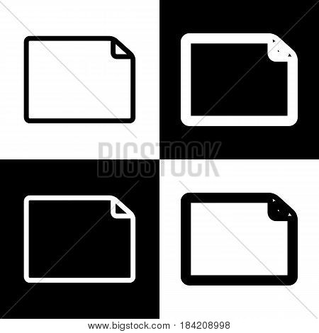 Horizontal document sign illustration. Vector. Black and white icons and line icon on chess board.