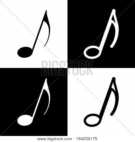 Music note sign. Vector. Black and white icons and line icon on chess board.