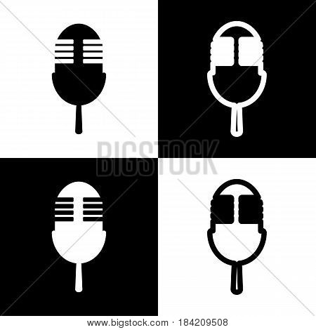 Retro microphone sign. Vector. Black and white icons and line icon on chess board.