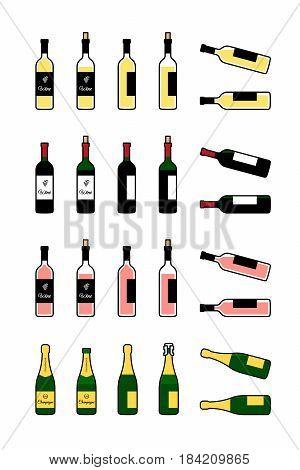 Wine and champagne bottles icons set. Bottle full, open, lying on side. Vector illustration