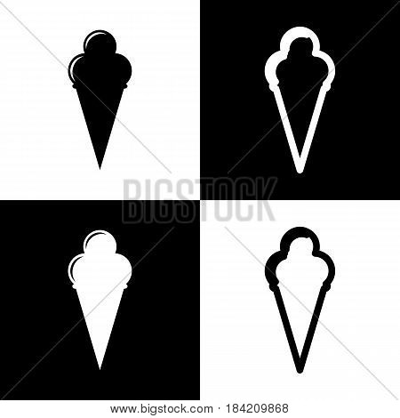 Ice Cream sign. Vector. Black and white icons and line icon on chess board.