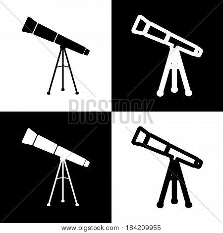Telescope simple sign. Vector. Black and white icons and line icon on chess board.
