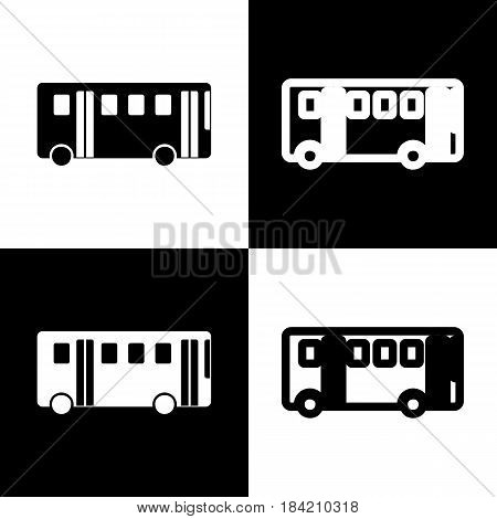 Bus simple sign. Vector. Black and white icons and line icon on chess board.