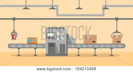 The factory conveyor on packing in flat style. Conveyor Automatic Production Line with Cardboard Boxes.Production Process on the Line Conveyor.Industrial machine.engineering vector illustration