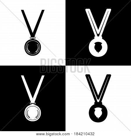 Medal simple sign. Vector. Black and white icons and line icon on chess board.