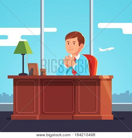 Executive manager, CEO or big boss sitting at clean desk smiling and holding hands together in raised steeple gesture of confidence. Office room with panoramic windows. Flat style vector illustration.