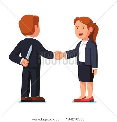 Business woman and man standing together shaking hands. Businessman holding knife behind his back. Treacherous deal or betrayal metaphor. Hiding killer concept. Flat style vector illustration.