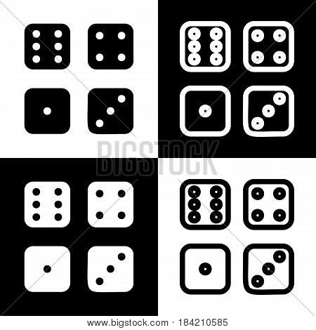 Devils bones, Ivories sign. Vector. Black and white icons and line icon on chess board.