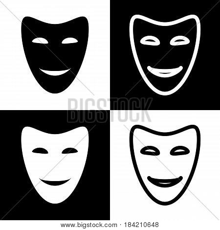 Comedy theatrical masks. Vector. Black and white icons and line icon on chess board.