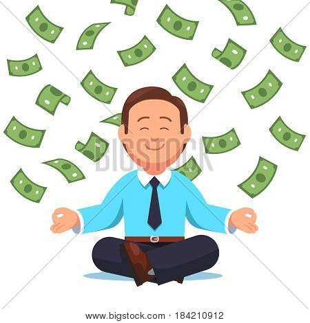 Dollar money cash flying down on business man sitting in padmasana lotus pose. Office worker meditating, relaxing doing yoga visualizing himself rich businessman. Flat style vector illustration.