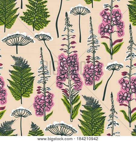Seamless pattern with forest and field plants and flowers. Angelica, fern, fireweed. Background with medical herbs. Vector illustration.