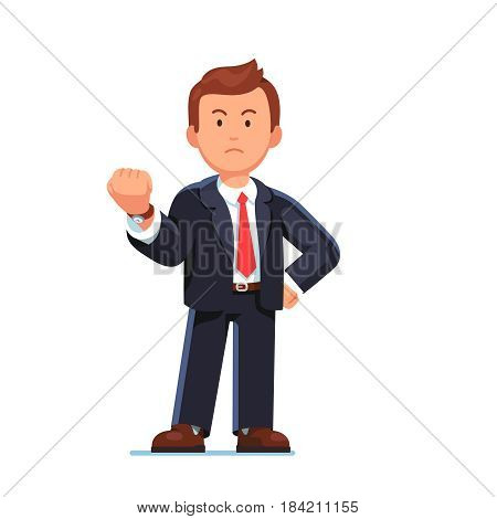 Angry and serious business man in suit standing showing threatening gesture with clenched fist. Flat style modern vector illustration isolated on white background.