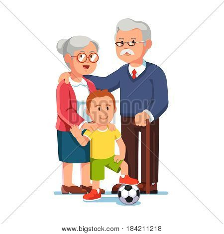 Old senior man and woman standing with boy. Grey haired aged grandparents and grandson waving hand. Grandma embracing her grand son. Flat style modern vector illustration isolated on white background.