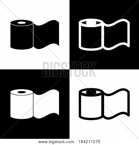 Toilet Paper sign. Vector. Black and white icons and line icon on chess board.