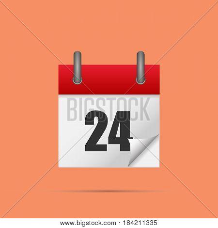 Calendar icon. Calendar date - 24th Vector illustration. Eps 10.