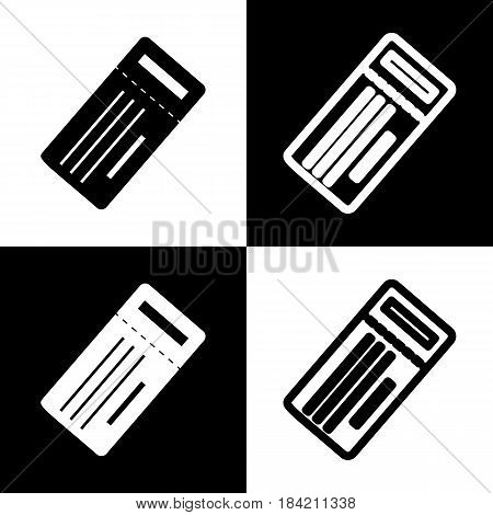 Ticket simple sign. Vector. Black and white icons and line icon on chess board.