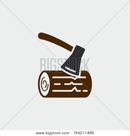 ax and wood icon isolated on white background .