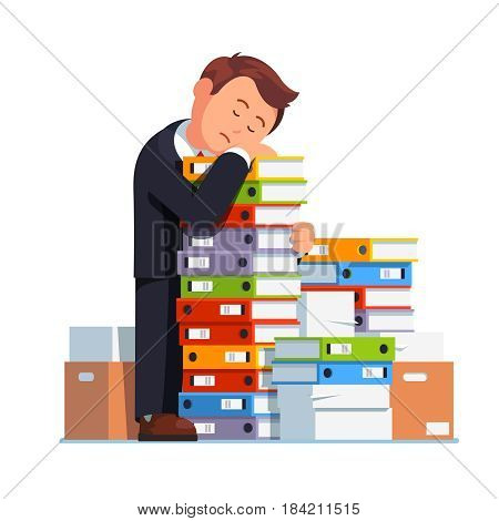 Tired business man sleeping on stacked paper pile document files. Overloaded office worker under pressure embracing amount of work. Flat style modern vector illustration isolated on white background.