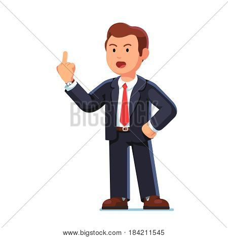 Dissatisfied and displeased business man standing showing middle finger fuck you gesture. Businessman angry face swearing shouting f words. Flat style vector illustration isolated on white background.