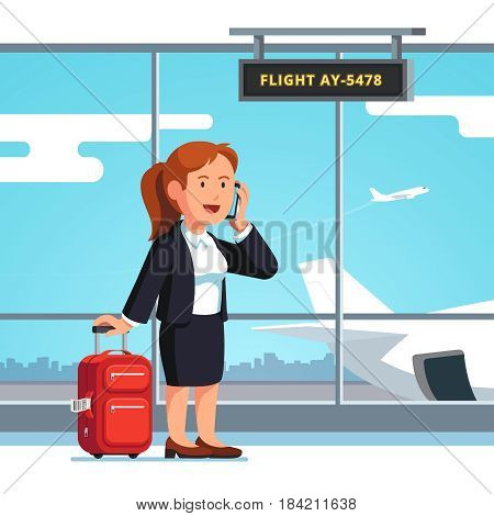 Young businesswoman standing with luggage wheeled boarding spinner at airport departure lounge, phone talking waiting flight. Executive manager woman going on business trip. Flat vector illustration.