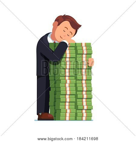 Satisfied and happy business man embracing big pile of cash money. Standing and sleeping on tall stacked dollar bundles heap. Commercial success. Flat style vector illustration isolated on white.