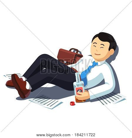 Drunk Asian business man lying on floor with alcohol bottle after corporate party celebration. Exhausted manager drinking. Addicted alcoholic leaning wall. Flat style vector isolated illustration.