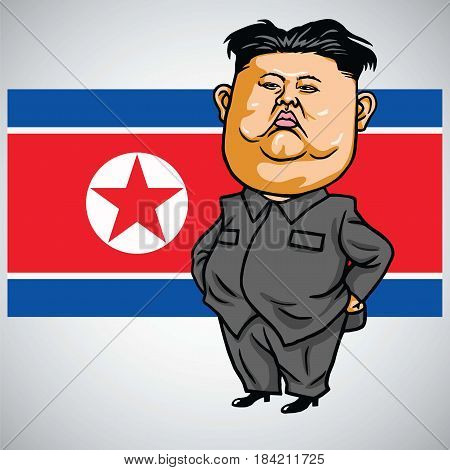 Kim Jong-un Cartoon with North Korea Flag. Vector Illustration. May 1, 2017