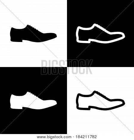 Men Shoes sign. Vector. Black and white icons and line icon on chess board.
