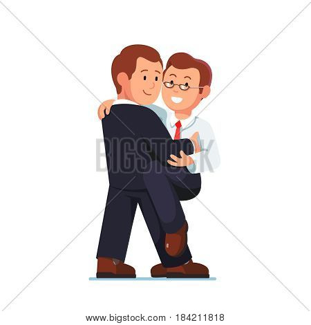 Loving man gay couple in formal business suit and shirt embracing each other dancing tango or salsa moves. Romantic homosexual relationship. Same sex marriage. Flat style isolated vector illustration.