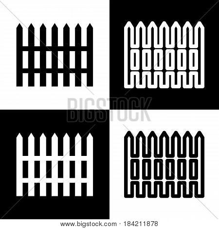 Fence simple sign. Vector. Black and white icons and line icon on chess board.