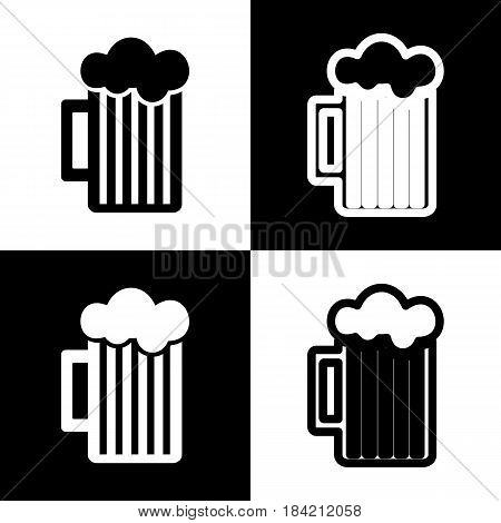 Glass of beer sign. Vector. Black and white icons and line icon on chess board.