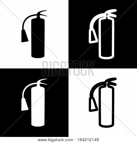 Fire extinguisher sign. Vector. Black and white icons and line icon on chess board.