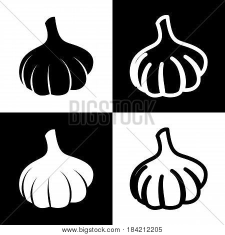Garlic simple sign. Vector. Black and white icons and line icon on chess board.