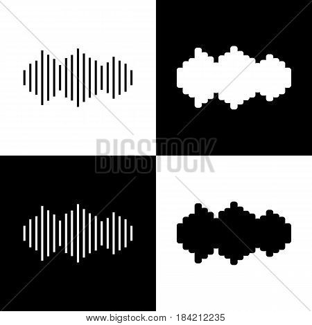 Sound waves icon. Vector. Black and white icons and line icon on chess board.