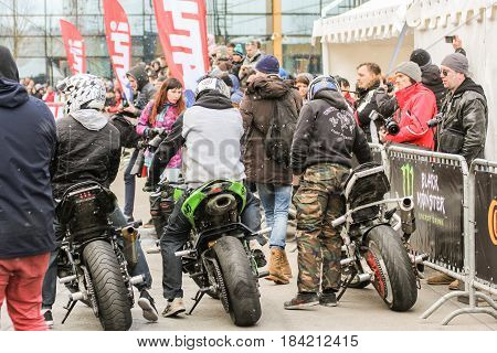 St. Petersburg Russia - 15 April, Bikers in the open area,15 April, 2017. International Motor Show IMIS-2017 in Expoforurum. Sports motorcycle show of bikers on the open area.
