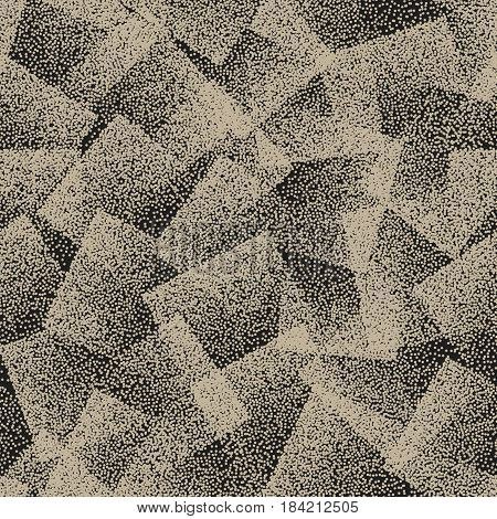 Vector Abstract Stippled Weird Hipster Seamless Pattern. Handmade Tileable Geometric Dotted Grunge Vintage Solid Simple Background. Bizarre Art Illustration