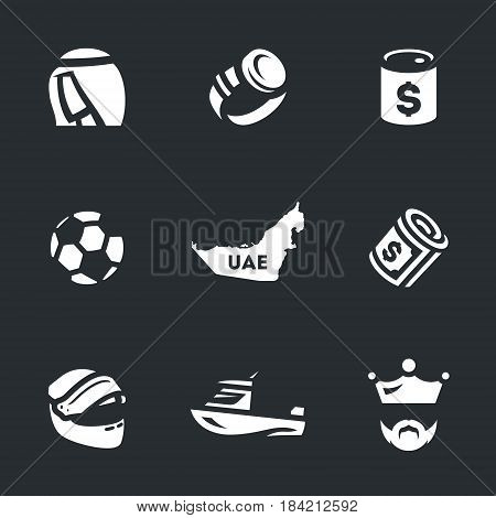 Sultan, clock, oil, soccer ball, card, money, racing helmet, sea boat, king.