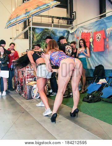 St. Petersburg Russia - 15 April, Dancing sexy dance,15 April, 2017. International Motor Show IMIS-2017 in Expoforurum. Erotic dances of the girls at the motor show.