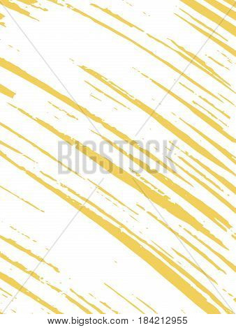 Card with stripes made by brush and ink. Texture for the background. White random stripes on a yellow background. Hand drawn. Vector illustration.