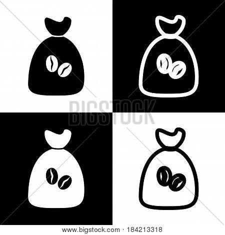 Coffee bag Icon. Coffee bag. Vector. Coffee bag Icon Button. Vector. Black and white icons and line icon on chess board.