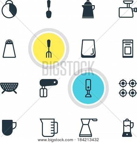 Vector Illustration Of 16 Restaurant Icons. Editable Pack Of Sieve, Timekeeper, Furnace And Other Elements.