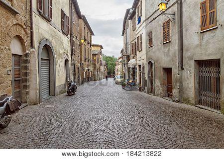 Ancient street of city Orvieto, Italy, Toscana