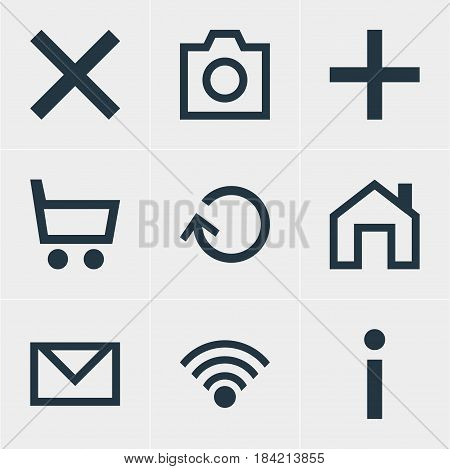 Vector Illustration Of 9 Interface Icons. Editable Pack Of Renovate, Letter, Cordless Connection And Other Elements.