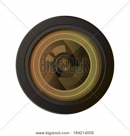 Camera photo lens equipment photography technology professional focus optical on white background. Vector illustration photograph glass optic focal studio photo lens. Film aperture zoom shutter