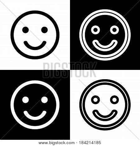 Smile icon. Vector. Black and white icons and line icon on chess board.