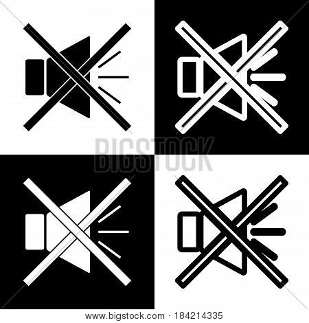 Sound sign illustration with mute mark. Vector. Black and white icons and line icon on chess board.
