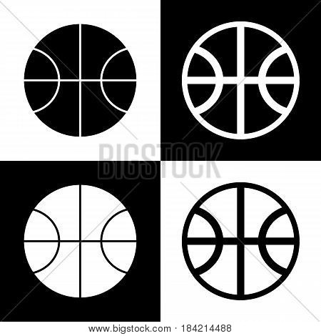 Basketball ball sign illustration. Vector. Black and white icons and line icon on chess board.