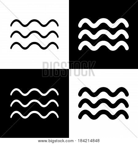 Waves sign illustration. Vector. Black and white icons and line icon on chess board.