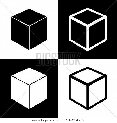 Cube sign illustration. Vector. Black and white icons and line icon on chess board.