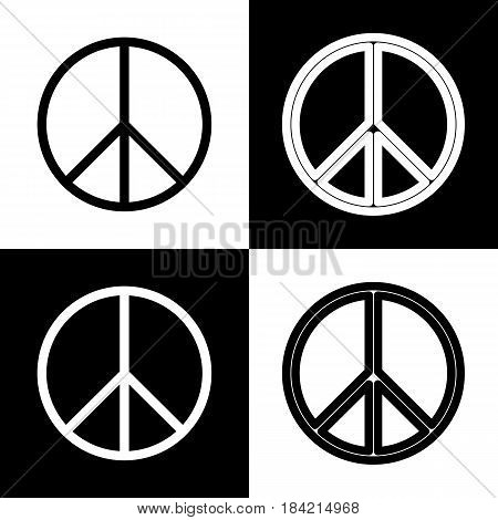 Peace sign illustration. Vector. Black and white icons and line icon on chess board.